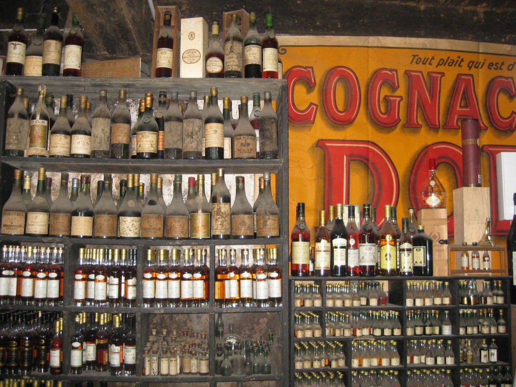 Historic bottles of Cognac on display in Cognac, France