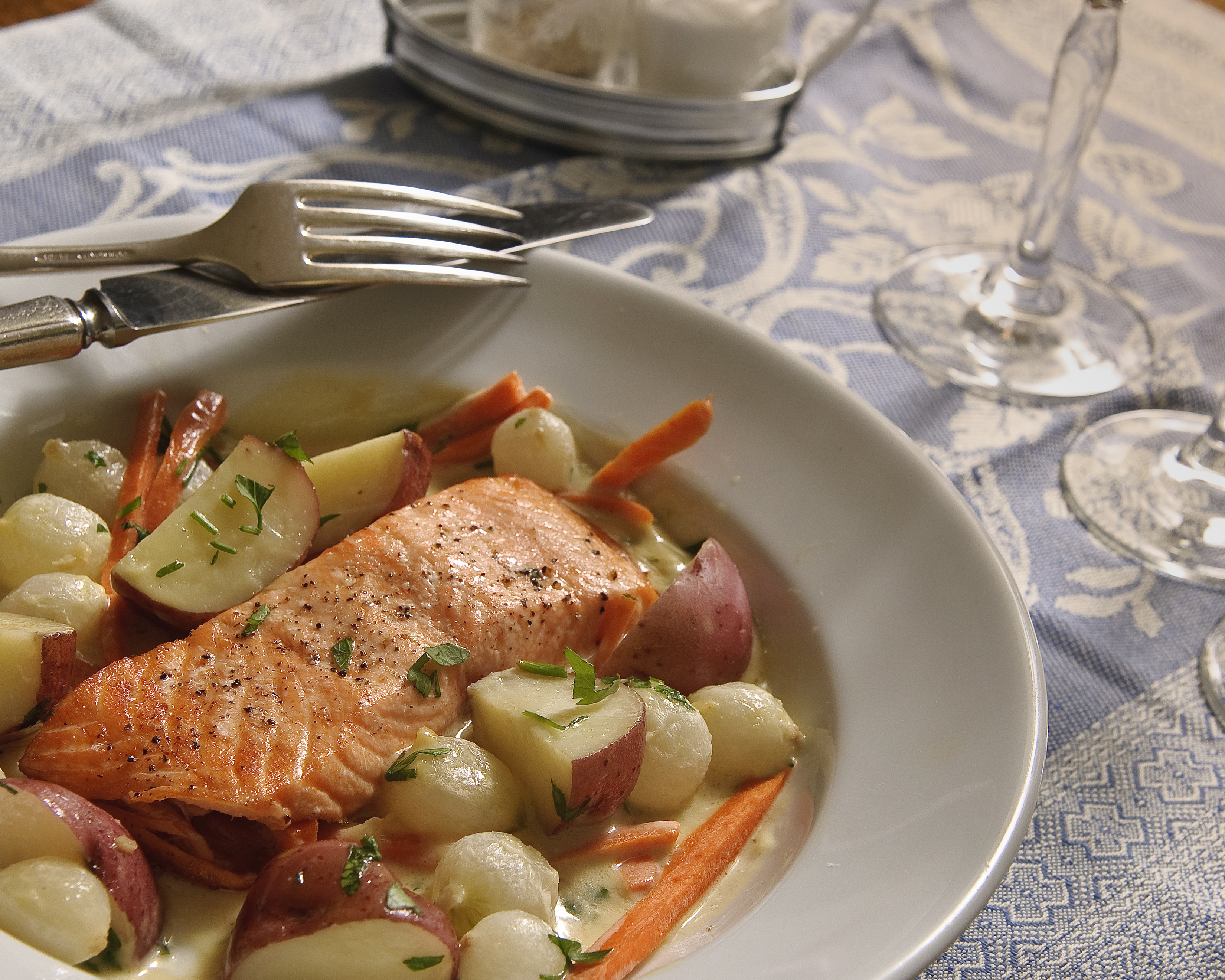 Roasted Salmon With Pernod Sauce Menu Chez Bonne Femme