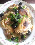 Vermouth-Braised Chicken with Olives and Prosciutto. Done in a little less than an hour, and most of that is hands-off braising time.