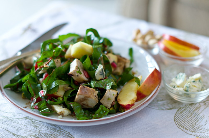 Chicken, Swiss Chard, Apples, Blue Cheese, Pistachios—a fabulous salad for right now.