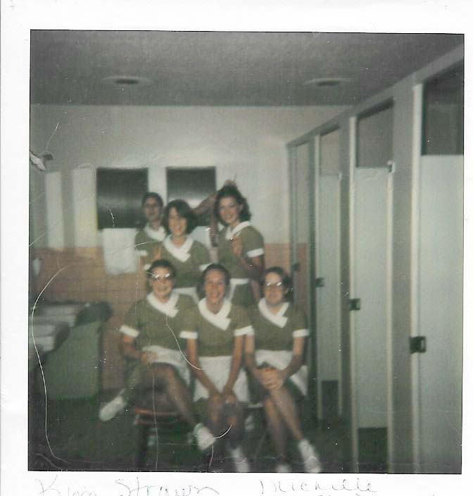 Me, and other Younkers waitresses taking a break in the bathrooms. PS: About those pea-green uniforms: They washed them every single day for us. Our manager once told us that the yearly cost for linens in the Younker restaurants was $250,000 a year.