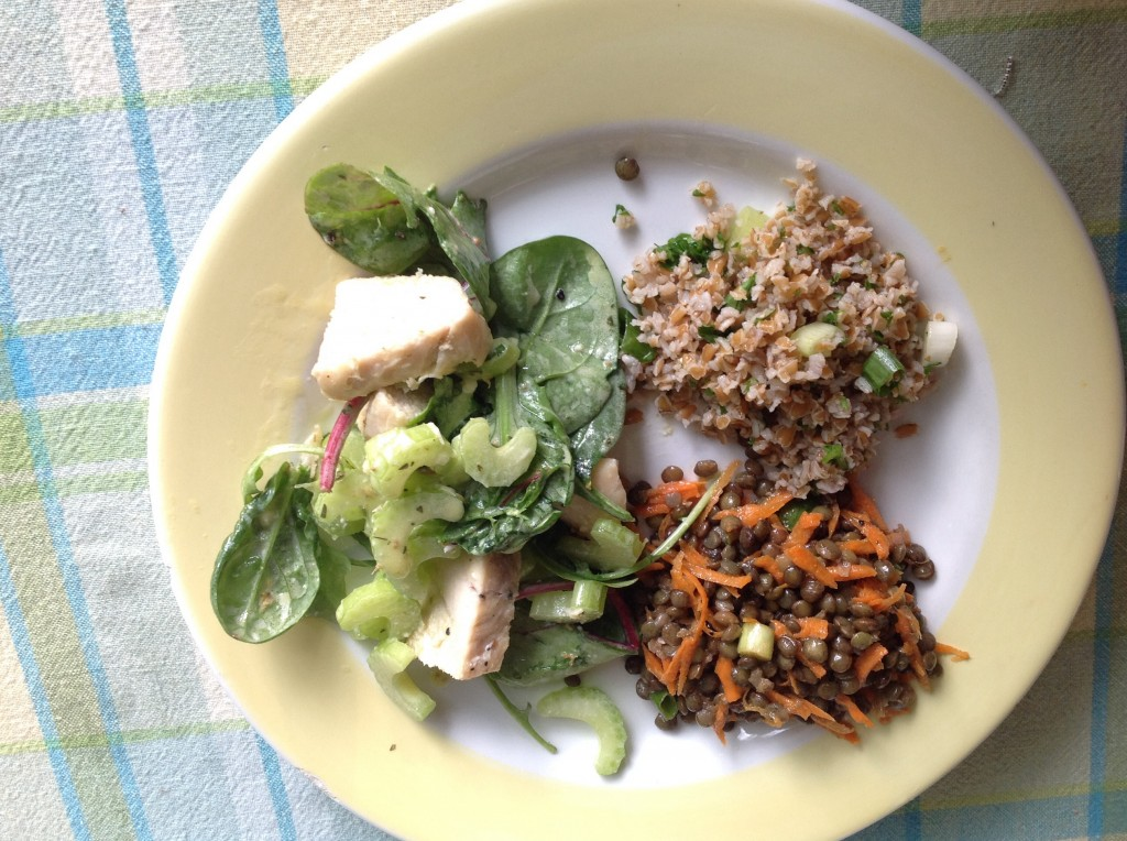 "Here's that French Green Lentil Salad again, and yes the Tabbouleh. This time, the ""main"" salad is my Roasted Chicken--Fennel Seed Salad, page 60."