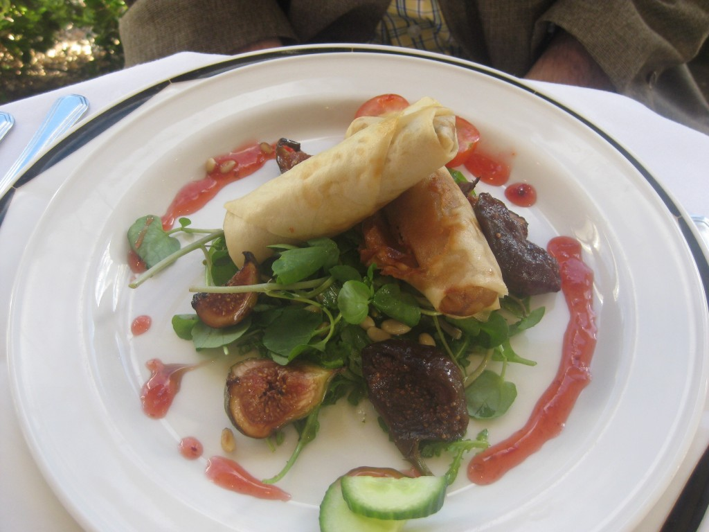 Pulled duck spring rolls, with fresh figs.