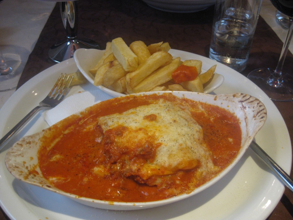 Lasagna in Ireland...with chips.