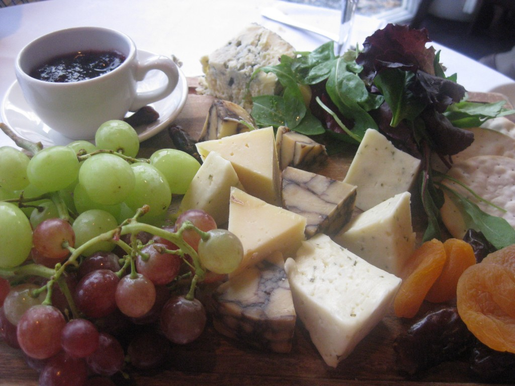 Cheese plate in Ireland, including a Guinness-veined cheese and Cashel Blue. Oh yes!