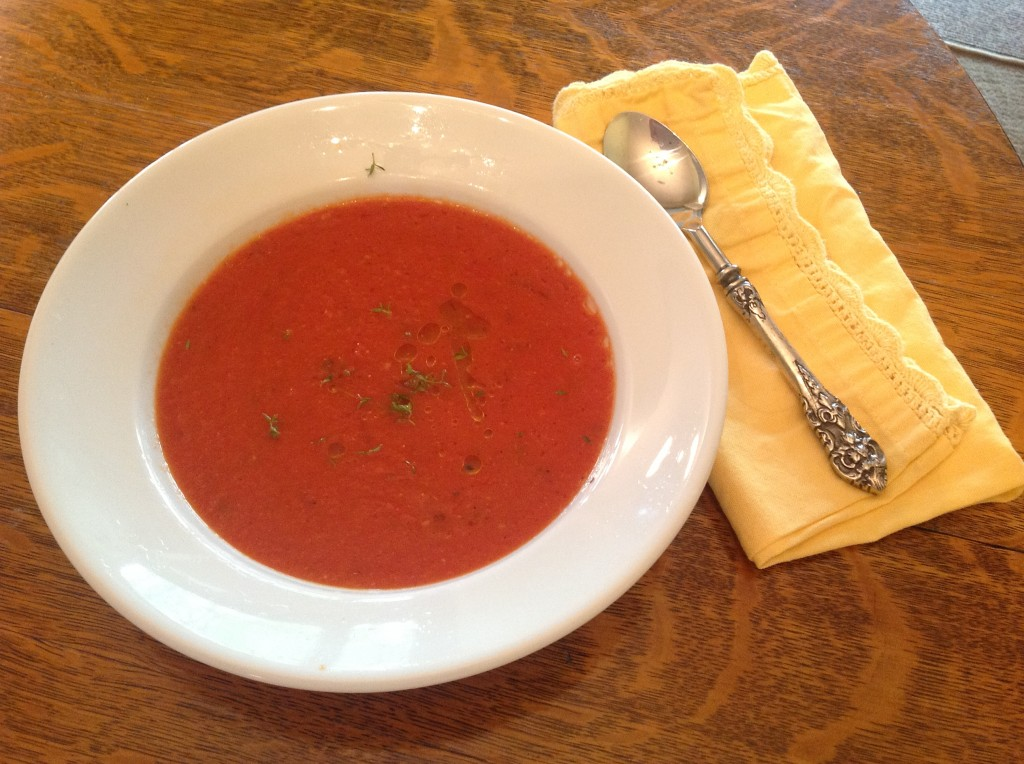 Fresh roasted tomato soup. See recipe, below.