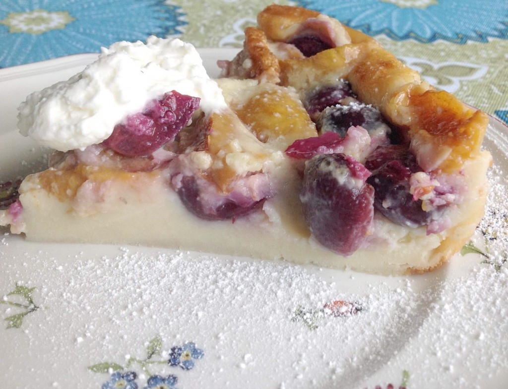 A slice of clafouti. The cherry and the custard were wonderful. Alas, the apricots....