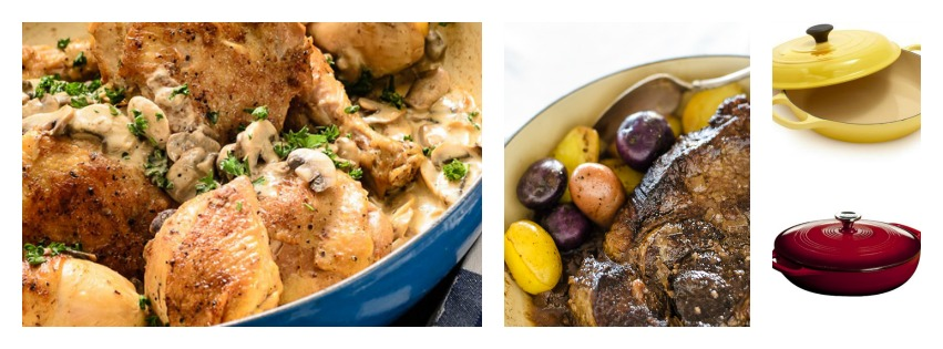 Pot-Roasted Chicken with Mushrooms and Chervil, Seven-Bone Pot Roast with Coriander. Top right: The Le Creuset Braiser; bottom right: The Lodge Braiser.