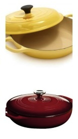 Le Creuset (top) has a deeply domed lid.