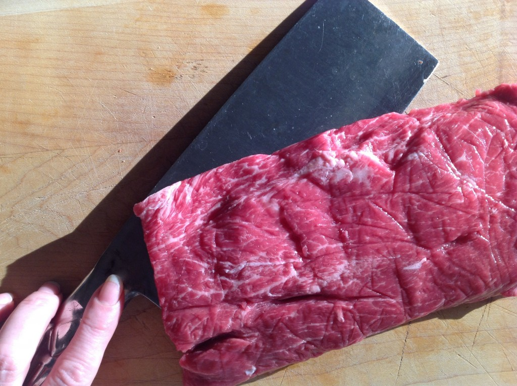 Yes! Flat-iron steaks are a great braising cut!: Look at all that marbling—as the meat braises, it becomes meltingly tender and that wonderful marbling enriches the sauce.