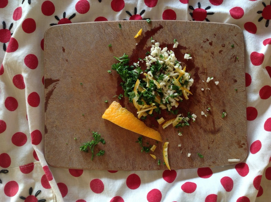 Gremolata (or, since it's French, persillade), with orange peel, parsley, and garlic.
