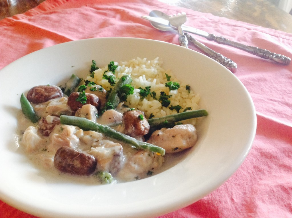 French Chicken Stew for the Slow Cooker, based on a French Blanquette of Chicken