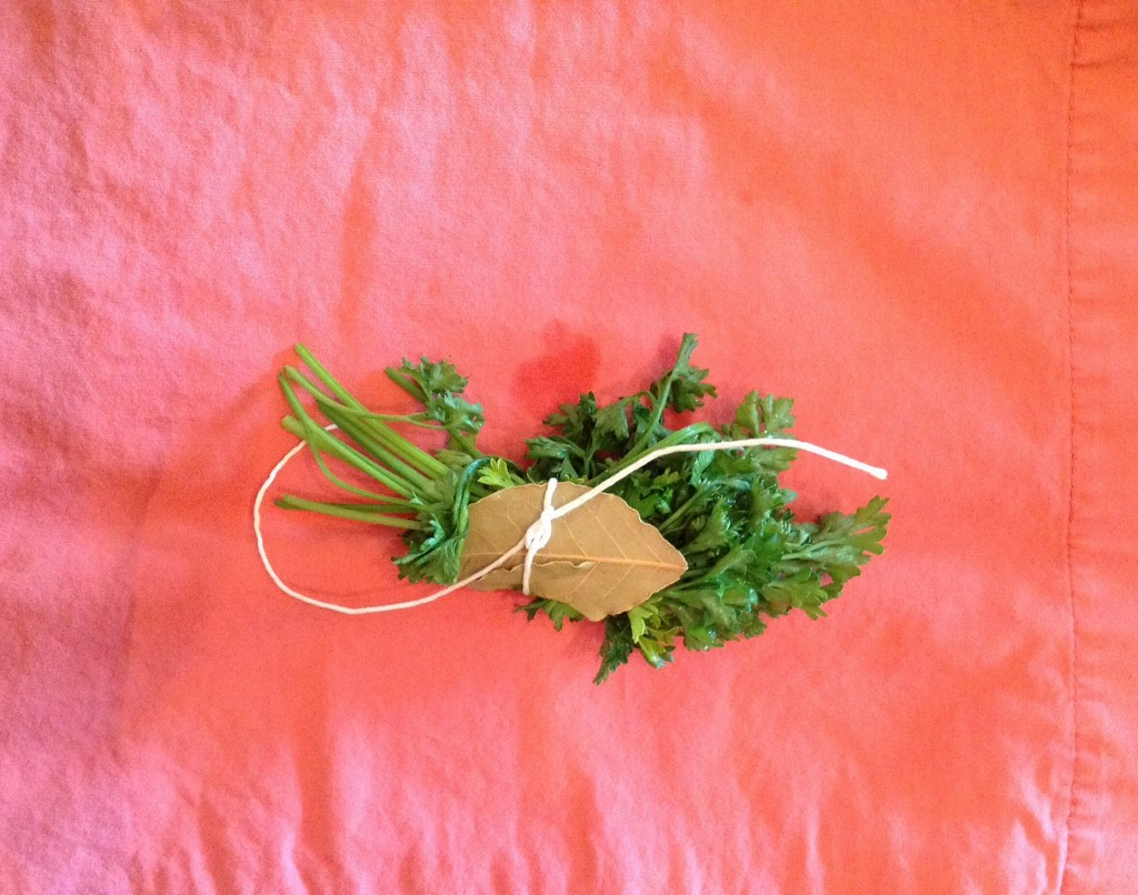 Just tie together a small handful of parsley and a bay leaf. Avoid breaking the brittle bay leaf--you don't want bits of bay leaf in your stew (it's a food-safety issue).