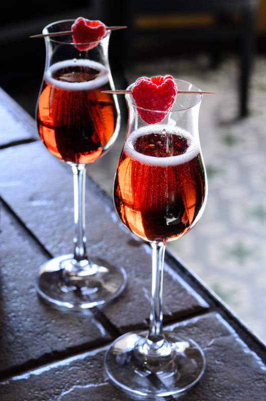Classic Kir Royale with crème de Cassis, though you can use any fruit liqueur, as with a kir. Photo by Richard Swearinger