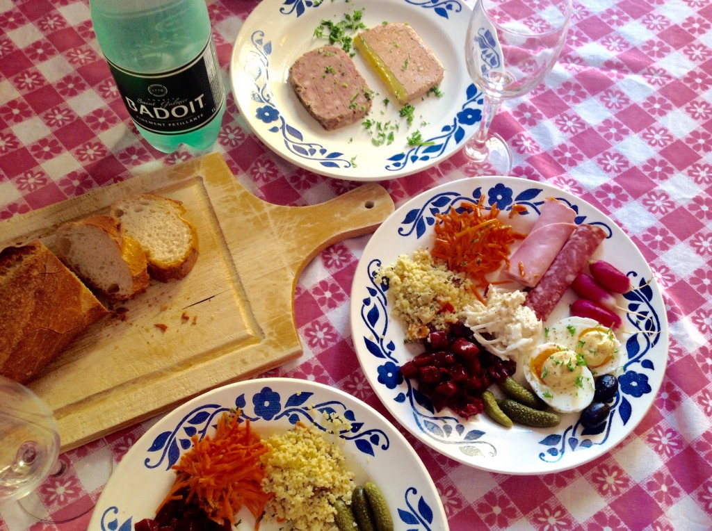 Top plate: Pâté de compagne and mousse de canard. Bottom plate: Jambon de Paris, rosette de Lyon, oeufs-mayo, roasted beet salad, couscous salad, carottes râpées, and (in the center) celeris remoulades. All from the deli (or supermaket).