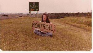 Me. Hitchhiking to Montreal from Quebec. What's worse--the fact that I was hitchhiking or the fact that I was wearing such hideous glasses?