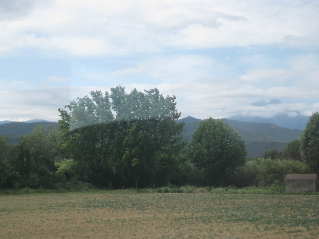 View from the train, up the Têt Valley, between two mountain ranges.