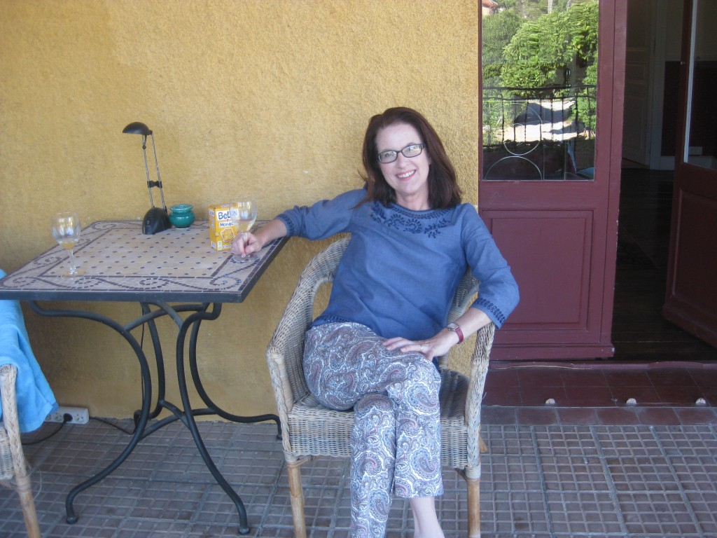 Me. Pretty darn happy on our spacious terrace overlooking the Canigou.