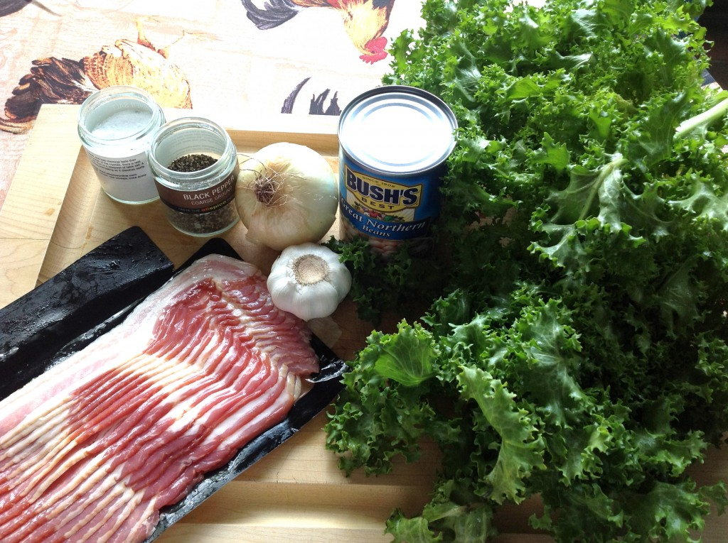 Ingredients for my recipe for braised French greens. That escarole is going to really brighten up your day.