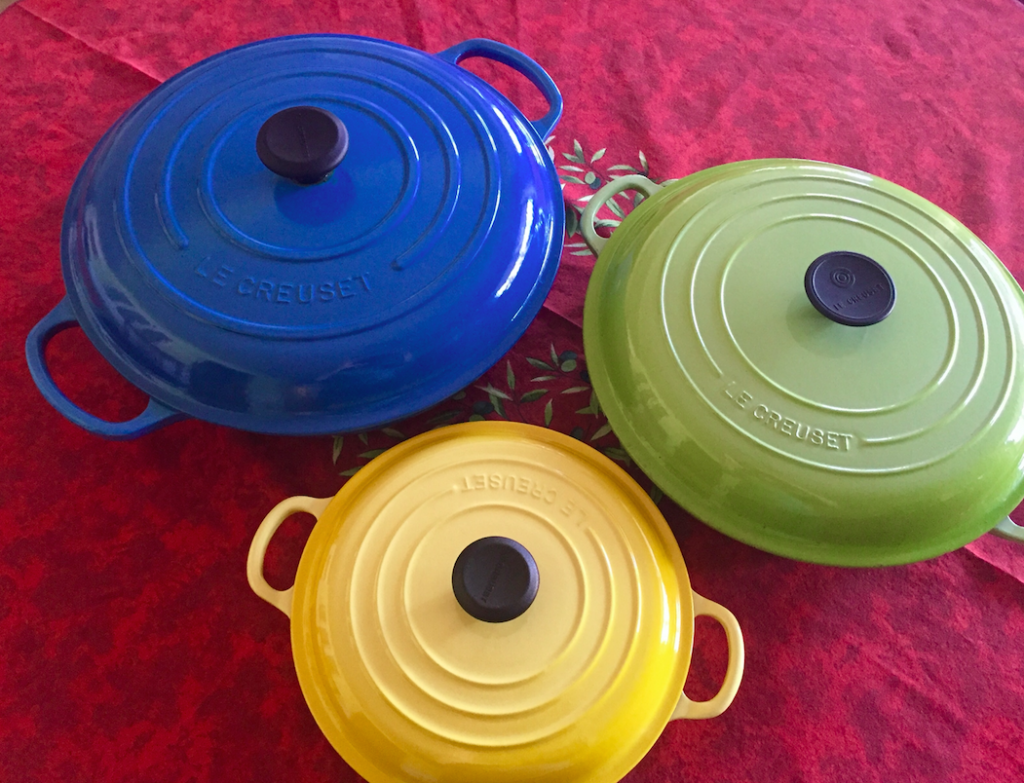 Which size of braiser to buy? I own and use all three, but I get the most out of the 3 1/2-quart size. That's the green one.