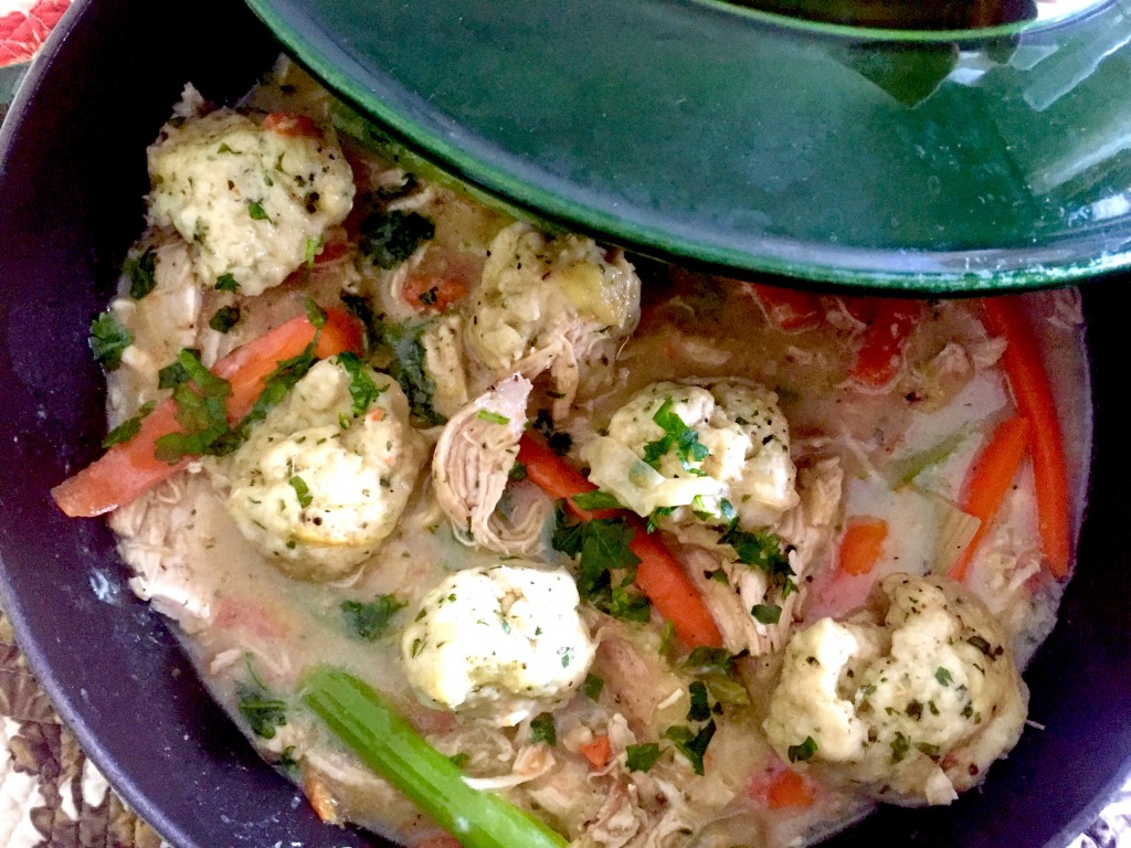 Chicken and Dumpligs. A terrific chicken recipe for the braiser.