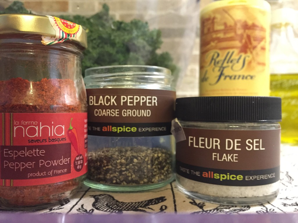 Fave seasonings for French kale chips: Piment d'Espelette, salt (fleur de sel, if possible), and pepper.