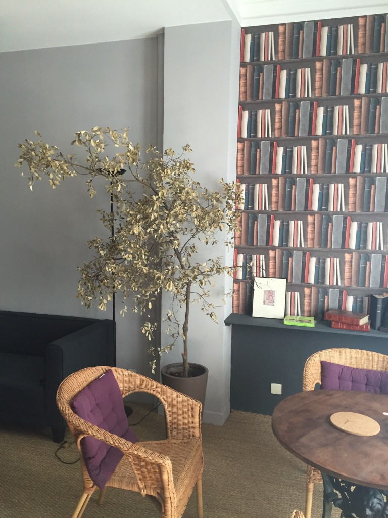 I thought the trompe l'oeil bookshelves were kind of cute. The dead ficus tree, not so much.