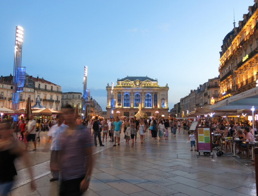 Place de la Comedie. A huge car-less pedestrian area. Two words: BO-RING.