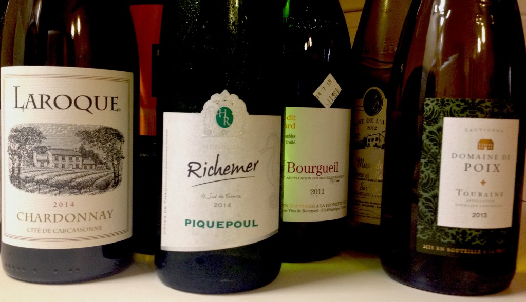 French wine currently in my home right now: All under 13% alcohol by volume; all priced under $15 a bottle.