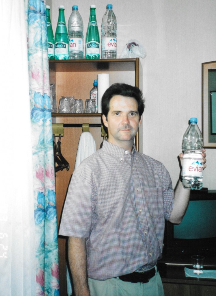 Some hotel, somewhere in France. Mr. Eau and his supply of water.