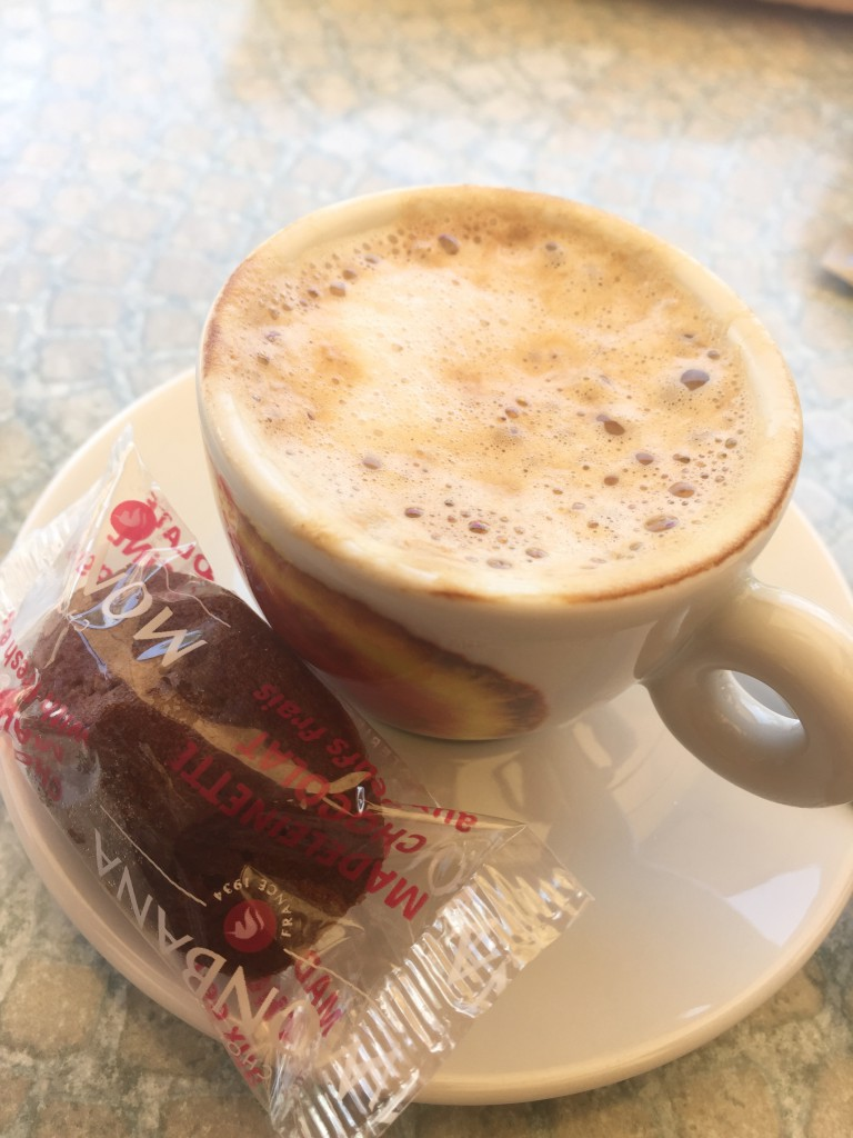 Ditto the little cookie you usually get with your coffee. Here's a chocolate Madeleine that helps keeps that strong coffee from burning a hole in your stomach. It's so thoughtful!