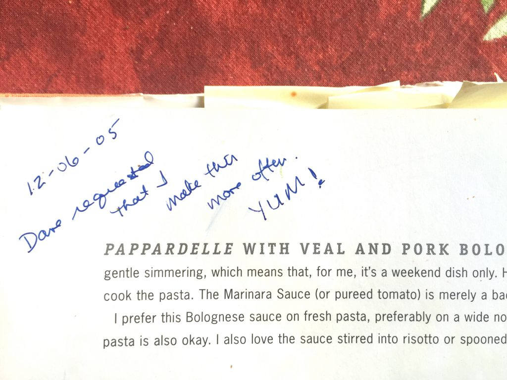 Notes on the Bolognese recipe. If you, like me, find the most pleasure in cooking something that's loved by someone you love, you'll appreciate this note. (Mr. Sportcoat adores this recipe.)