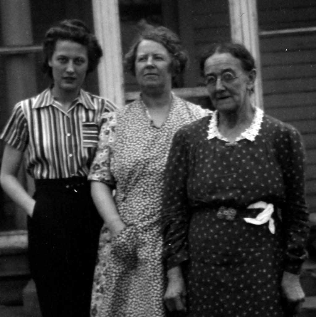 My mother, my grandmother, and my great grandmother. Just from the way she dressed—no calico for her!—you could tel she wasn't destined to be a farm wife, as her mother and grandmother had. Still, she loved the farm, and returned often throughout her life.