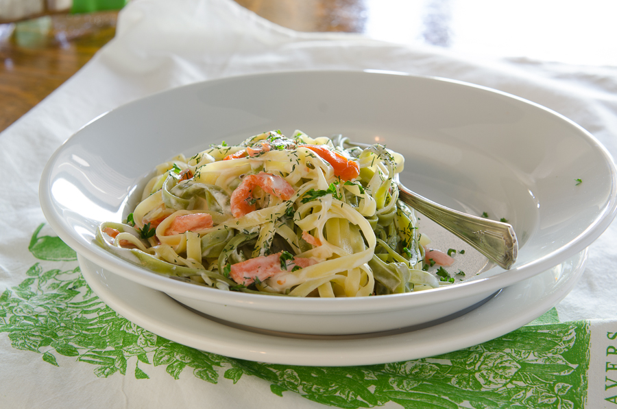 A great recipe with hints of spring--both in the colors and the fresh herb flavors.